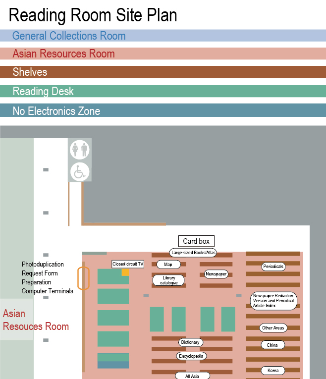 west side of Reading Room map : Asian Resources Room