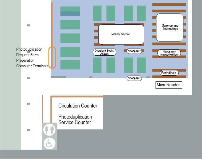 east side of Reading Room map : Circulation Counter, Photoduplication Service Counter
