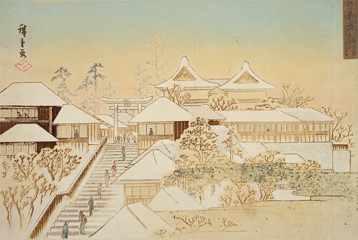 湯しま天神雪のあくる日 | 錦絵でたのしむ江戸の名所