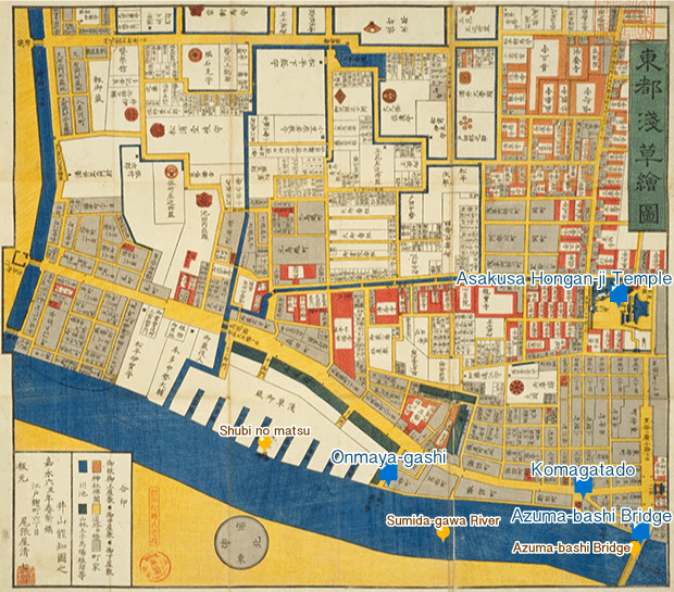 Find on a detailed map of Edo Asakusa Okuramae atari no ezu The