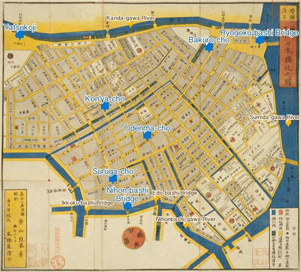 Find on a detailed map of Edo : Nihonbashi-kita Kanda Hama-cho ezu ...