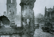 Ruined Ypres, Belgium after the World War I Taisho period. From (Document Showa Vol.1)