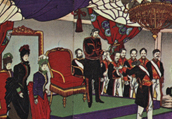 Nishiki-e of the constitution promulgation celemony, depicted by YOSHU Chikanobu (Meiji 22)