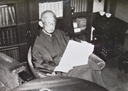 MINOBE Tatsukichi  at his home, reading up a manuscript for media corps. 2 February 1935 (Showa 10). From (Shinbun Rengo Shashin News Vol.1935 no. 9)