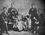 Major figures of the Iwakura Mission. From Mezurashii Shashin